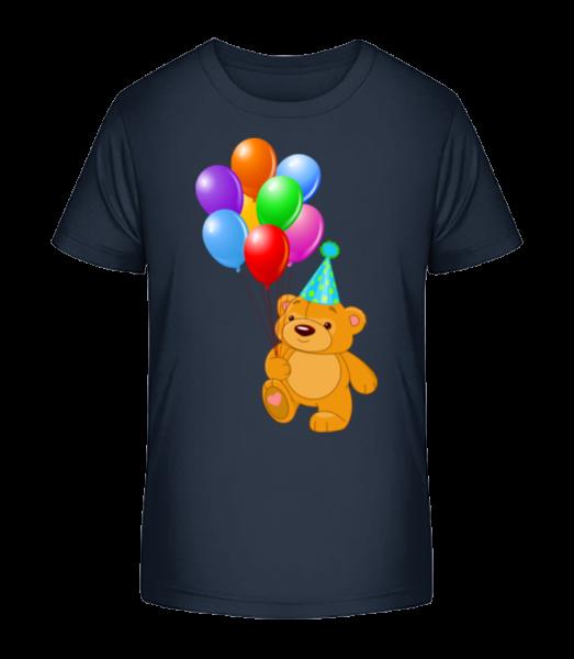 Bear with Balloons - Kid's Premium Bio T-Shirt - Navy - Vorn