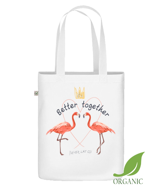 "Better Together Flamingos - Organic ""Earth Positive"" tote bag - White - Vorn"