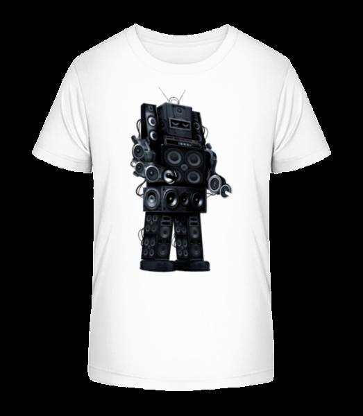 Ghetto Blaster Robot - Kid's Premium Bio T-Shirt - White - Vorn