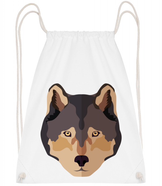 Wolf Comic Shadow - Drawstring Backpack - White - Vorn