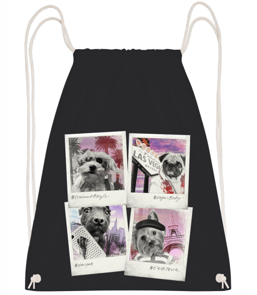 Dog Polaroids - Drawstring Backpack - Black - Vorn