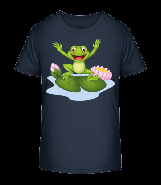 Frog On Water Lily - Kid's Premium Bio T-Shirt - Navy - Vorn