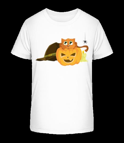 Halloween Pumpkin Cat - Kid's Premium Bio T-Shirt - White - Vorn