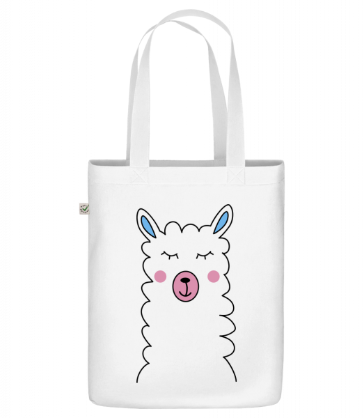 "Cute Lama - Organic ""Earth Positive"" tote bag - White - Vorn"