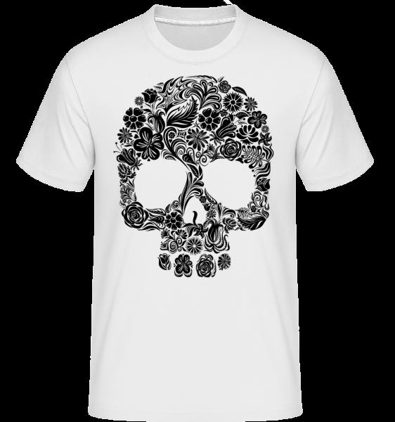 Flower Skull -  Shirtinator Men's T-Shirt - White - Vorn