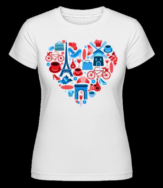 Paris Love Heart -  Shirtinator Women's T-Shirt - White - Vorn