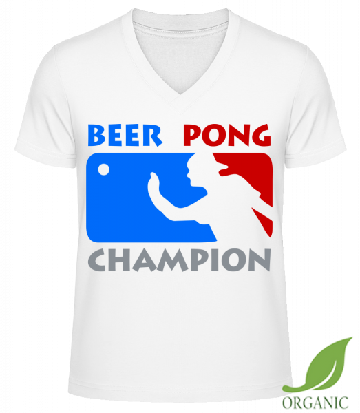 "Beer Pong Champion - ""James"" Organic V-Neck T-Shirt - White - Vorn"