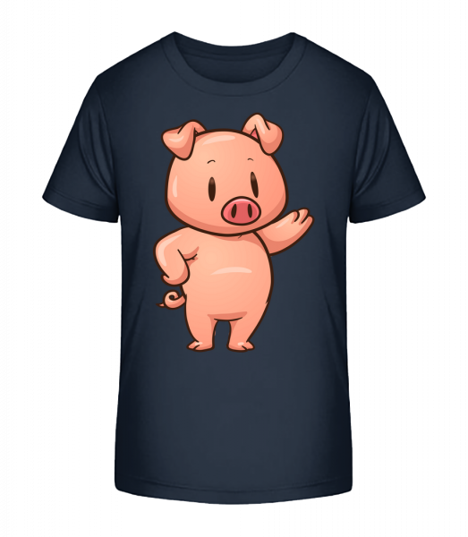 Piglet Standing Comic - Kid's Premium Bio T-Shirt - Navy - Vorn