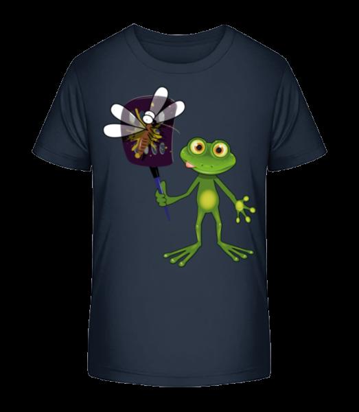 Frog With Fly Swatter - Kid's Premium Bio T-Shirt - Navy - Vorn