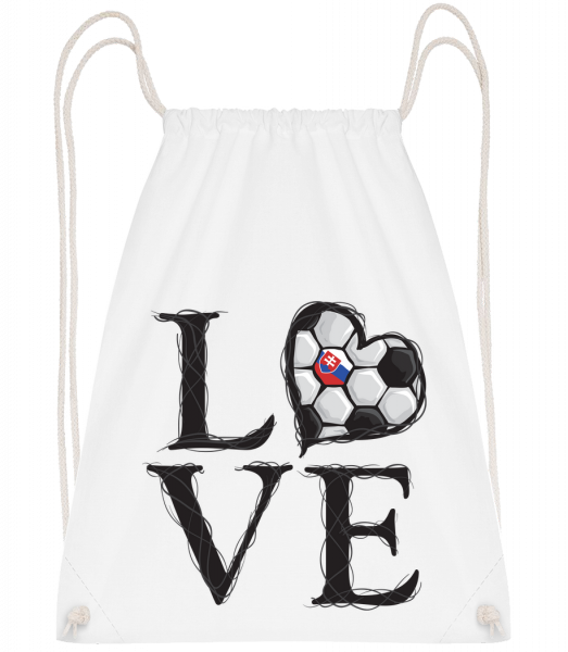 Football Love Slovakia - Drawstring Backpack - White - Vorn