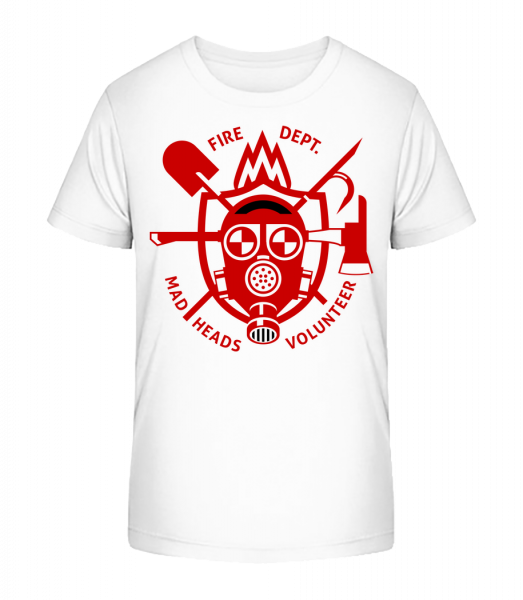 Fire Dept Mad Heads - Kid's Premium Bio T-Shirt - White - Vorn