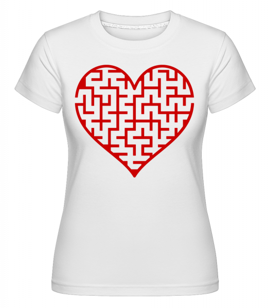 Heart Maze Red -  Shirtinator Women's T-Shirt - White - Vorn