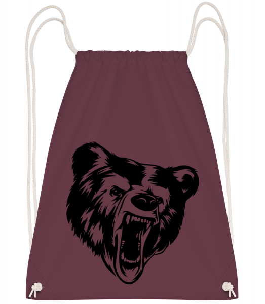 Wild Bear Icon - Drawstring Backpack - Bordeaux - Vorn
