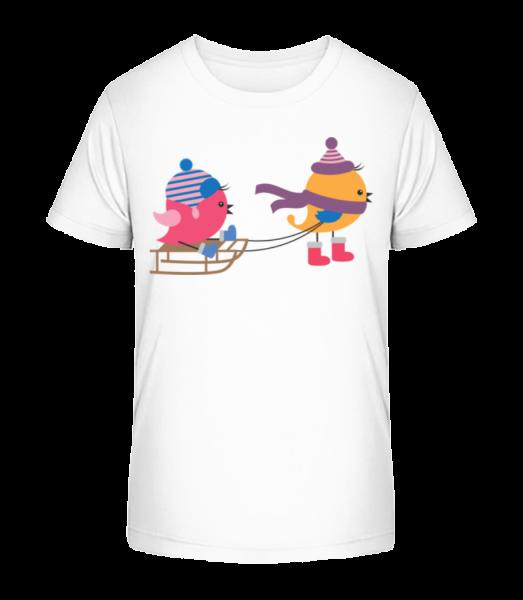 Sled Birds - Kid's Premium Bio T-Shirt - White - Vorn