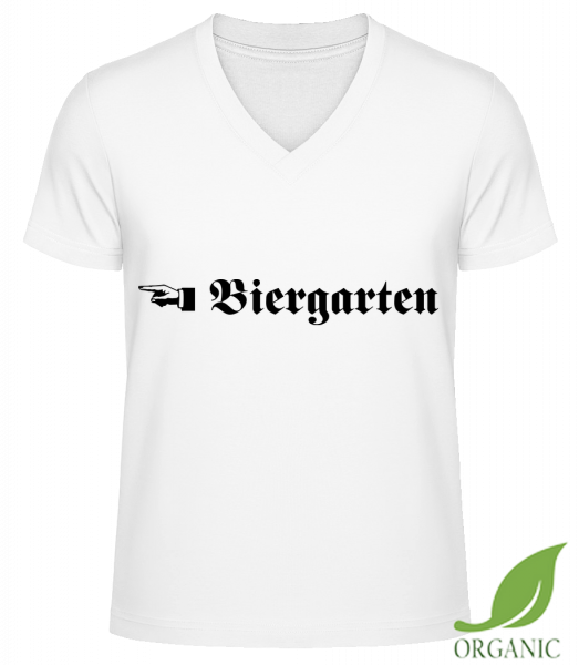 "Biergarten - ""James"" Organic V-Neck T-Shirt - White - Vorn"