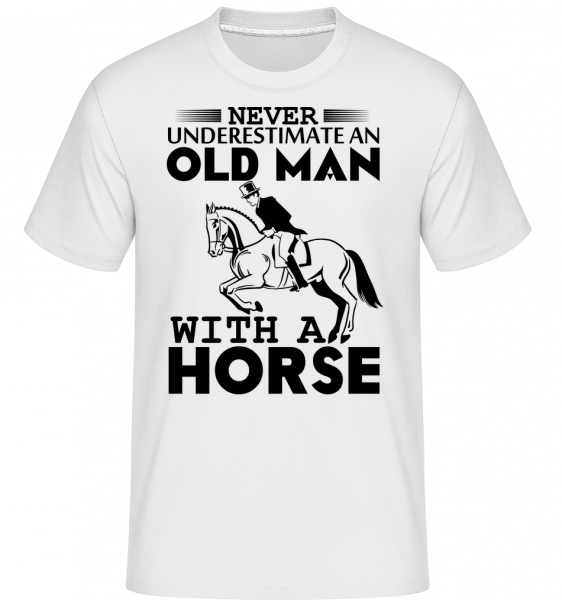 Old Man With Horse - Shirtinator Men's T-Shirt - White - Vorn