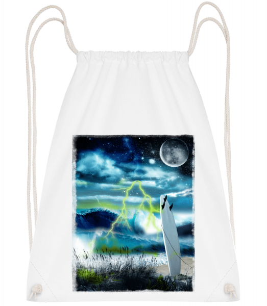 Beach In Space - Drawstring Backpack - White - Vorn
