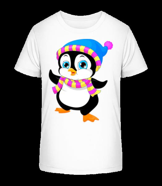Penguin With Scarf - Kid's Premium Bio T-Shirt - White - Vorn