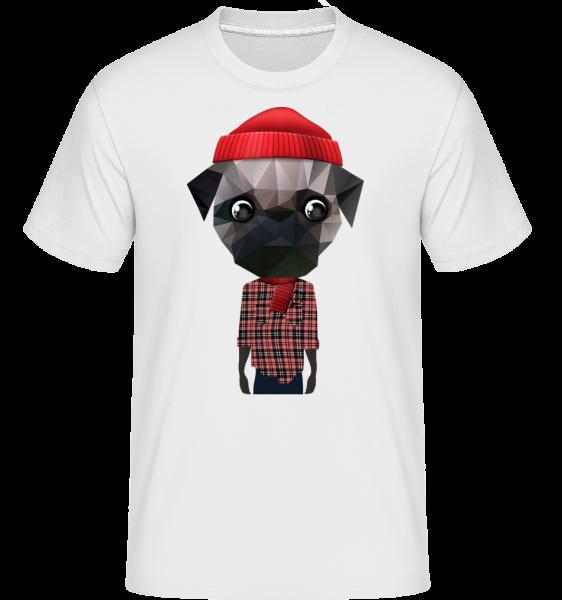 Polygon Dog Hipster - Shirtinator Men's T-Shirt - White - Vorn