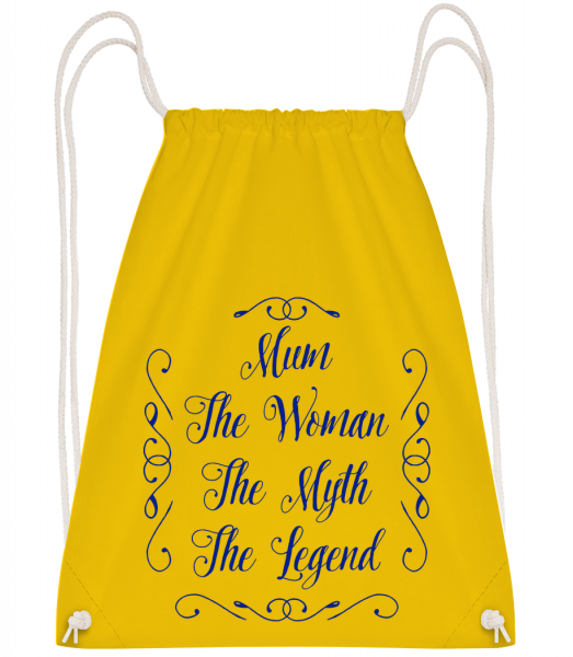 Mum - The Legend - Drawstring Backpack - Yellow - Vorn