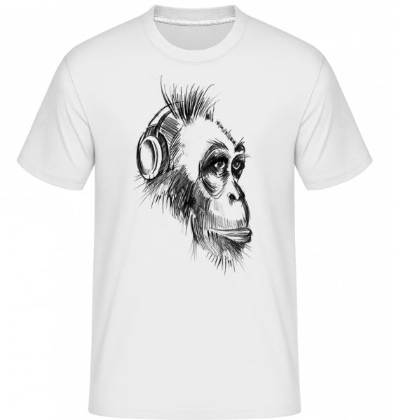 Monkey With Headphones -  Shirtinator Men's T-Shirt - White - Vorn
