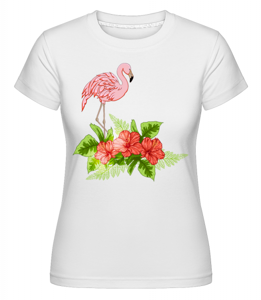 Flamingo In Paradise -  Shirtinator Women's T-Shirt - White - Vorn