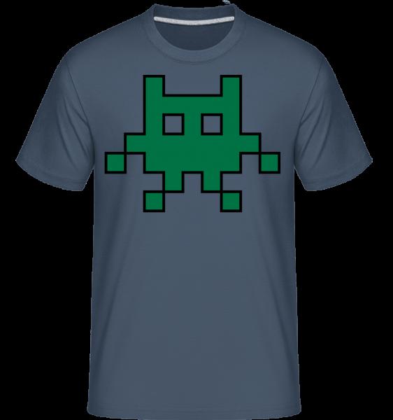 Pixel Monster Green -  Shirtinator Men's T-Shirt - Denim - Vorn