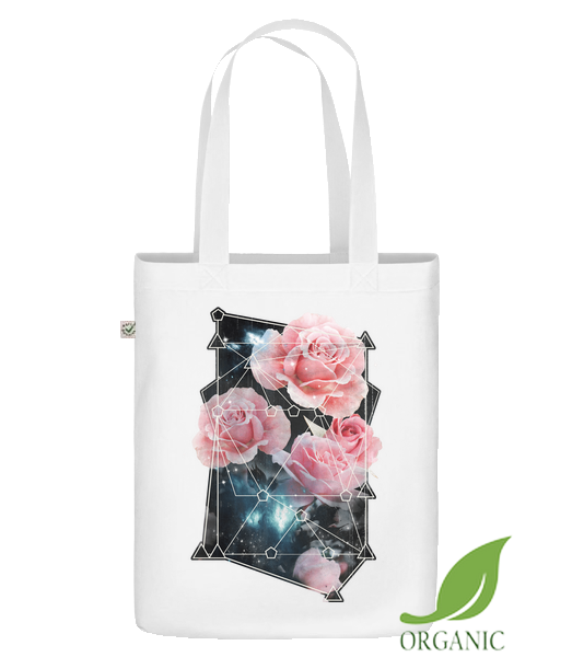 "Geometry Roses - Organic ""Earth Positive"" tote bag - White - Vorn"