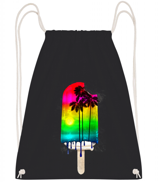 Palm Trees Ice Cream - Drawstring Backpack - Black - Vorn