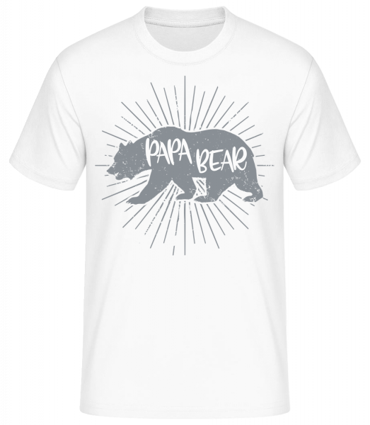 Papa Bear - Basic T-Shirt - White - Vorn