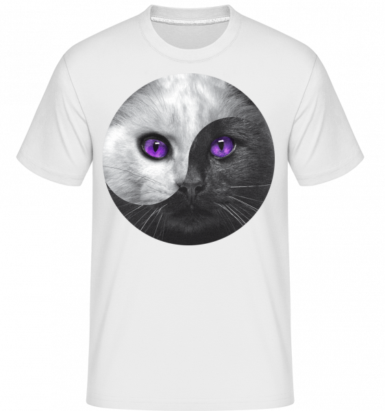 Yin And Yang Cat -  Shirtinator Men's T-Shirt - White - Vorn