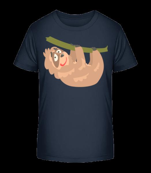 Relaxing Sloth - Kid's Premium Bio T-Shirt - Navy - Vorn
