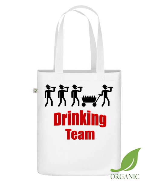 "Drinking Team - Organic ""Earth Positive"" tote bag - White - Vorn"