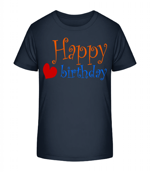 Happy Birthday Heart - Kid's Premium Bio T-Shirt - Navy - Vorn