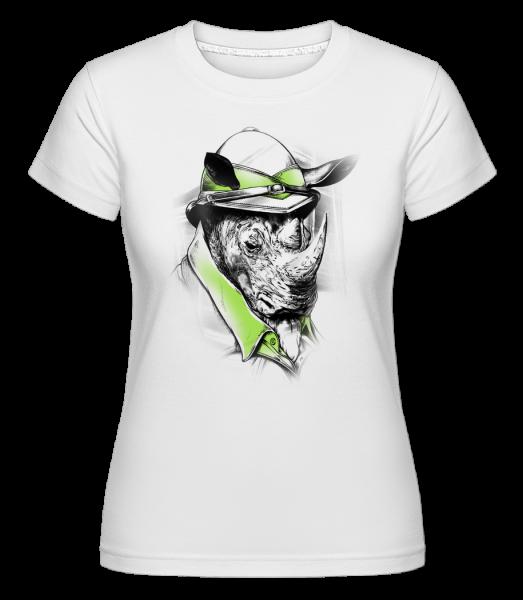 Safari Rhino - Shirtinator Women's T-Shirt - White - Vorn