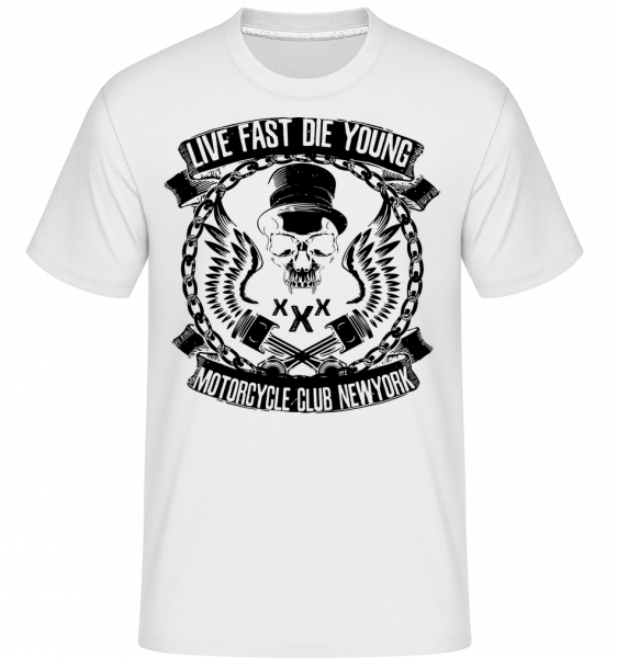 Live Fast Die Young Skull -  Shirtinator Men's T-Shirt - White - Vorn
