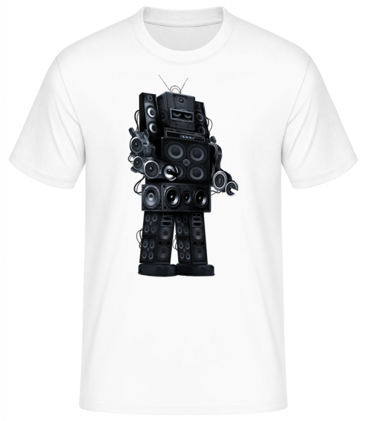 Ghetto Blaster Robot - Men's Basic T-Shirt - White - Vorn