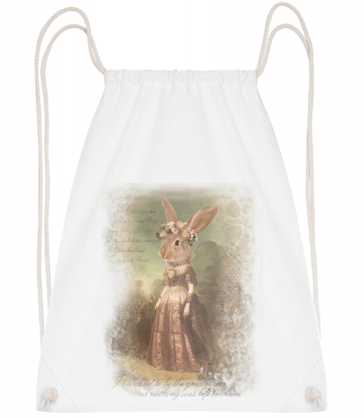 Painting Bunny - Drawstring Backpack - White - Vorn