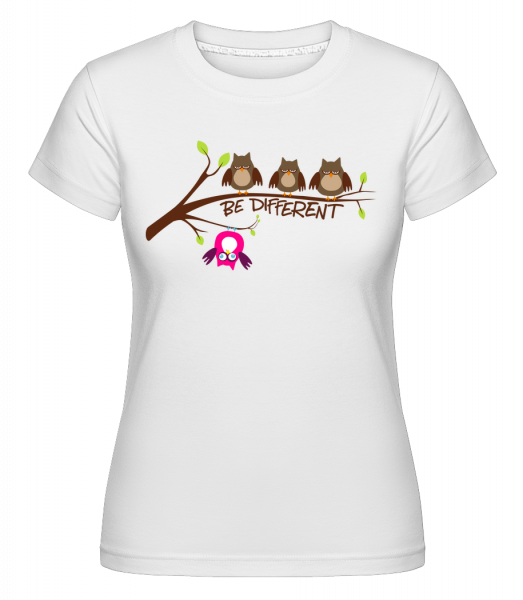 Be Different Owls -  Shirtinator Women's T-Shirt - White - Vorn