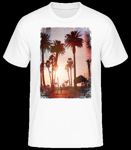 Palm Promenade - Men's Basic T-Shirt - White - Vorn