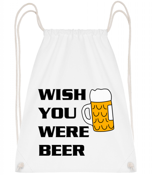 Wish You Were Beer - Drawstring Backpack - White - Vorn