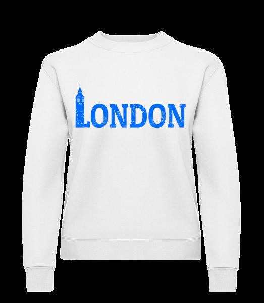 London UK - Classic Ladies' Set-In Sweatshirt - White - Vorn