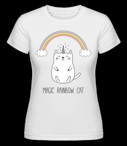 Magic Rainbow Cat -  Shirtinator Women's T-Shirt - White - Vorn