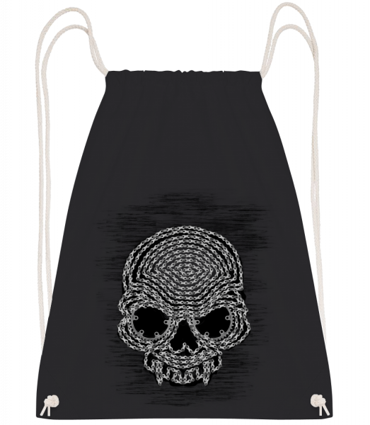 Bicycle Chains Skull - Drawstring Backpack - Black - Vorn