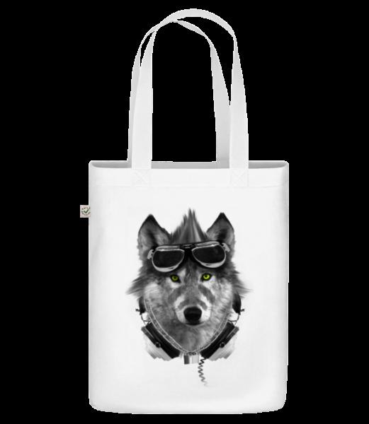 "Biker Wolf - Organic ""Earth Positive"" tote bag - White - Vorn"