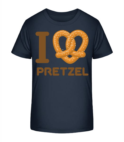I Love Pretzel - Kid's Premium Bio T-Shirt - Navy - Vorn