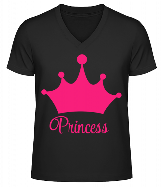Princess Crown - Men's V-Neck Organic T-Shirt - Black - Vorn