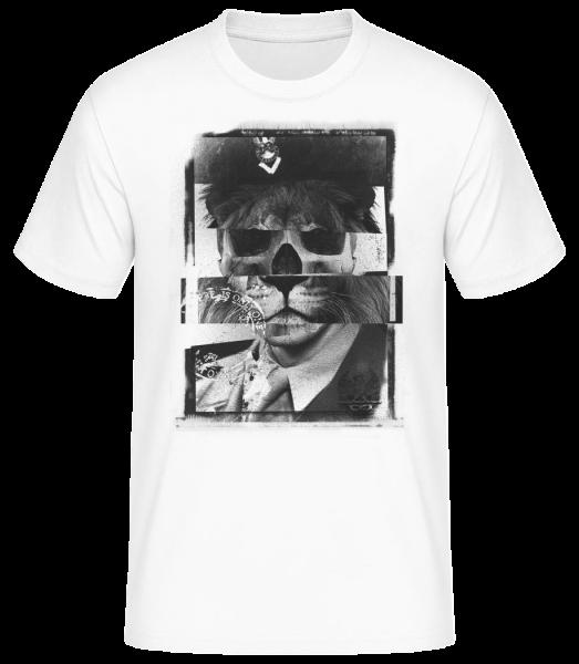 Lion Human Push Picture - Men's Basic T-Shirt - White - Vorn
