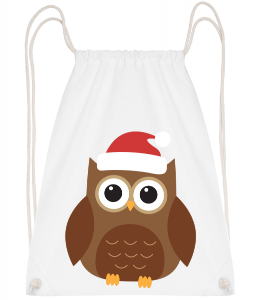 Christmas Owl - Drawstring Backpack - White - Vorn