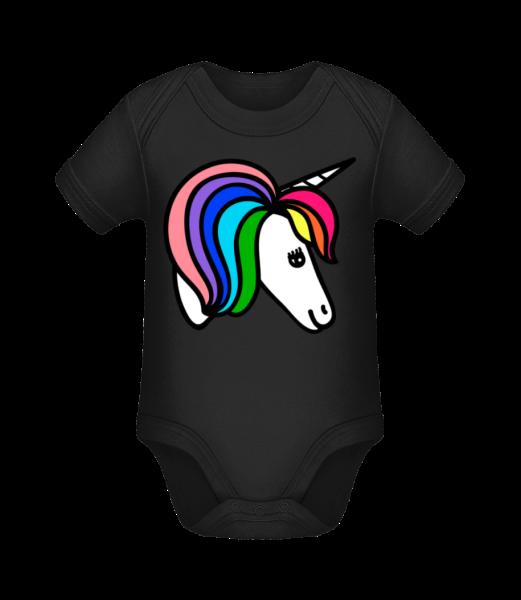 Unicorn Rainbow - Organic Baby Body - Black - Vorn